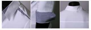 Iron free Plaid decorated Mens slim Dress shirts tops 3 colors 3 size