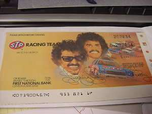 Richard Petty / Kyle Petty STP Rebate check 1980