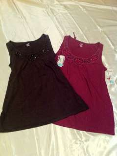 duo Maternity Brown or Cranberry Beaded Maternity Tank Top Sizes S, M
