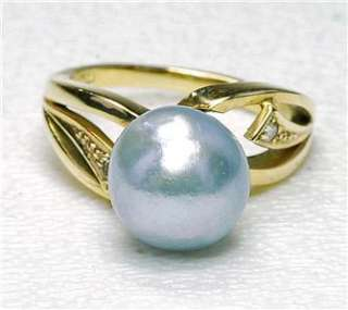 yellow Gold & Blue  Grey Freshwater 9.24mm Pearl Diamond ladies Ring