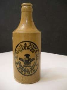 1800s Antique Ellis & Son Ginger Beer Stoneware Pottery Bottle |