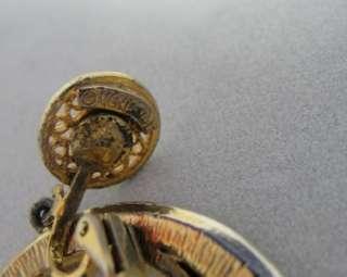 Gold Filigree Dangle Hoops w/ Neon Orange Enamel Earrings 2