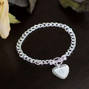 Personalized Heart Charm Bracelet with Initial & Rhinestone toggle