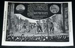 1906 OLD PRINT AD, VICTOR TALKING MACHINE, VERDI OPERA!