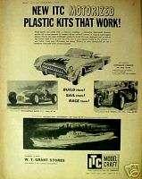 1959 Model Craft Ideal Toy Motorized Model Kits Car~Ship ~ITC~ AD