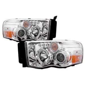 02 05 Dodge Ram Chrome LED Halo Projector Headlights /w