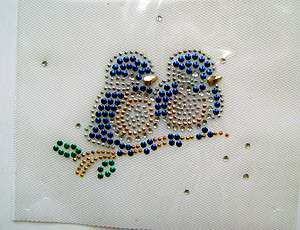 CHRISTMAS WINTER BLUE BIRDS ON BRANCH RHINESTONE IRON ON APPLIQUE HEAT