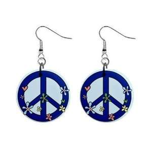 New Blue Hippie Flower Peace Sign Symbol 1 Round Button