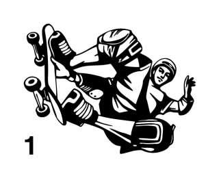 SKATER DC SKATEBOARD RAMP VINYL DECAL STICKER KID`S ROOM WALL ART