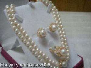 Set White Freshwater Pearl Necklace Earring Ring