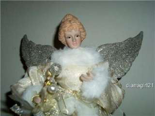 Large Christmas Tree Angel Topper * White & Gold Dress * Porcelain