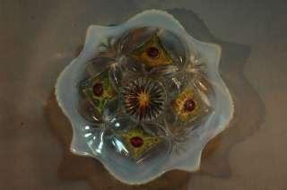 Opalescent Goofus glass bowl