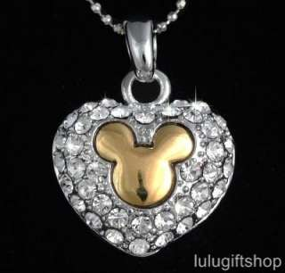 disney mickey mouse heart 18k white gold plated pendant necklace use