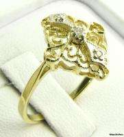 DIAMOND CROSS RING   10k Yellow & White Gold Filigree Elegant Estate