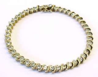 CZ Gold Plated Sterling Silver Tennis Link Bracelet 7