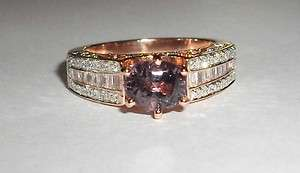 Oval Cut Purple Spinel & Baguette Diamond 14K Rose Gold Ring