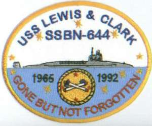 US NAVY SHIP PATCH, USS LEWIS AND CLARK, SSBN 644 Y