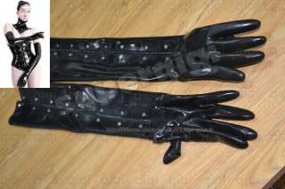 Latex rubber Glove 0.8mm suit catsuit black heavy wear