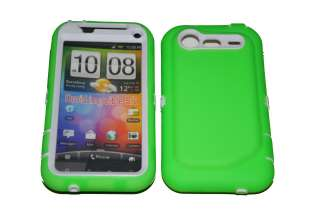 Double Layer Green Hard Case For HTC Droid Incredible 2 (White)