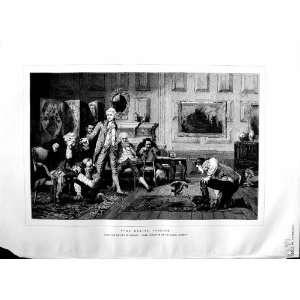 1883 SCENE BIRDS FIGHTING HOUSE MEN LASLETT POTT ART