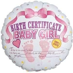 Pink Birth Certificate Baby Girl 18 Mylar Balloon Toys