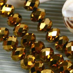 8x10mm GOLDEN CRYSTAL GLASS FACETED ABACUS LOOSE BEADS