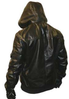 Mens Black HOODED Leather Bomber Jacket Coat Hoody S