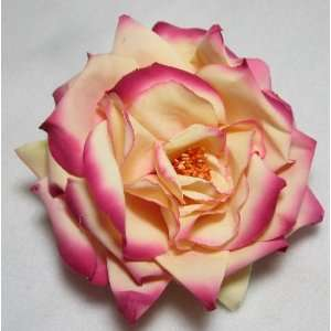 Large Yellow and Pink Sophia Rose Flower Hair Clip and