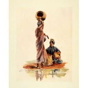 1914 Print Lady Lawley India Canarese Woman Water Carrier Lake Costume