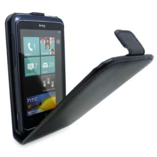 Black Flip Leather Case Cover for HTC 7 Trophy + SP