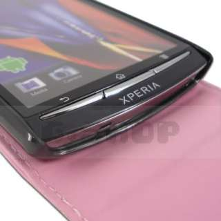 Leather Case Pouch Cover Film For Sony Ericsson Xperia Arc S Pink f