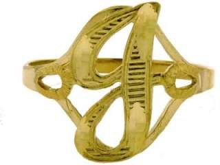 LADIES MENS SOLID 10K YELLOW GOLD INITIAL RING J LETTER