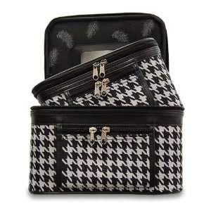 Train Case Cosmetic Toiletry 2 Piece Luggage Set Black