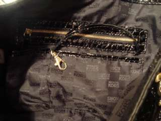 Michael Kors Black Patent Leather With Chains Handbag Purse Large