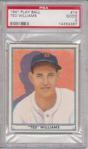1941 TED WILLIAMS 3rd Year Boston Red Sox Play Ball #14   PSA 2 (Good