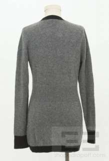 Vince Grey & Black Trim Cashmere & Wool Button Front Cardigan Sweater