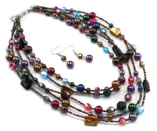 Multi Color Layer Pearl Crystal Necklace Set Costume Jewelry