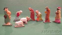Vintage Miniature Anri Nativity Scene w Original Box 9 Pieces
