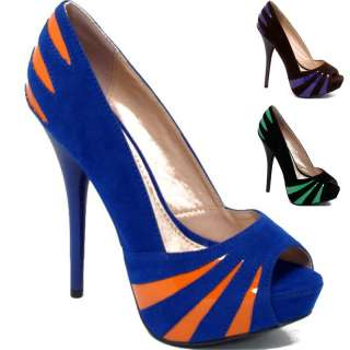 Womens Shoes High Heels Stiletto Suede Peep Toe Pumps Black Brown Blue