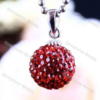 Red Czech Crystal 925 Sterling Silver Necklace Pendant