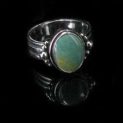 Sterling Silver Natural Green Turquoise Ring size 9