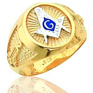 Mens Yellow Gold Plated Solid Back Masonic Ring Jewelry