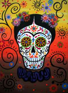 Mexican FOLK ART Day of the Dead FRIDA KAHLO Dia De Los Muertos Flower