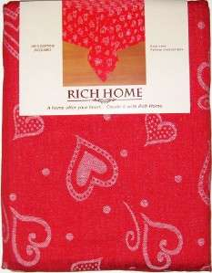 VALENTINES DAY TABLECLOTH 52 x 70 Red White Hearts NEW