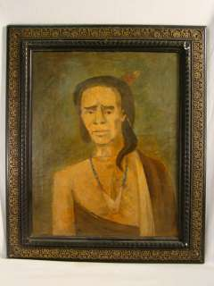 Antique FOLK ART Primitive INDIAN PORTRAIT Old JAMESTOWN VA Native