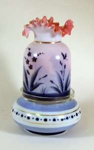 Antique Pink & Blue Art Glass Decorated Fairy Lamp