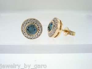 YELLOW GOLD BLUE & WHITE DIAMONDS STUD EARRINGS MICRO PAVE SET
