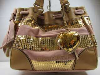 Juicy Couture Pink/Gold Sequin Stripe Daydreamer Tote/Handbag/Purse
