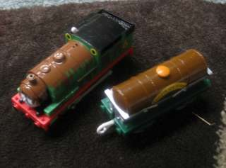 Thomas Tank Engine Trackmaster 2 piece CHOCOLATE PERCY Tanker VGUC