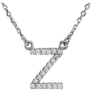 Alphabet Initial Letter Necklace (GH Color, I1 Clarity, 1/10 Cttw